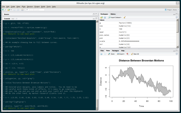 RStudio showing a plot